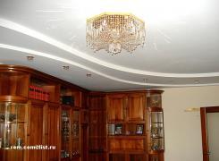 Отделка потолка гипсокартоном в трехкомнатной квартире