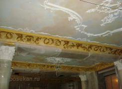 оселковый мрамор, роспись, патинированные декоративные элементы из гипса